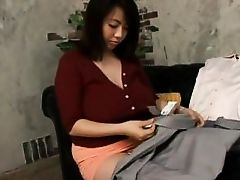 japanese milf shows off her silk underclothing