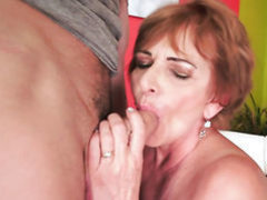 Redhead with big hooters just loves to suck and